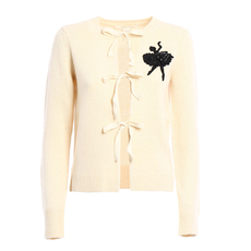 Marc Jacobs Sequin Ballerina Patch Cardigan Beige