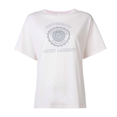 Saint Laurent Universite Print Oversize T-Shirt Light Pink