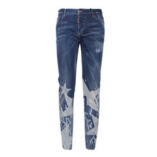 Dsquared2 Faded Effect Button On Jeans Blue