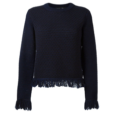 Proenza Schouler Frayed Trim Sweater Dark Blue