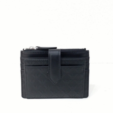 Emporio Armani Embossed Leather Card Case With Coin Pocket Black